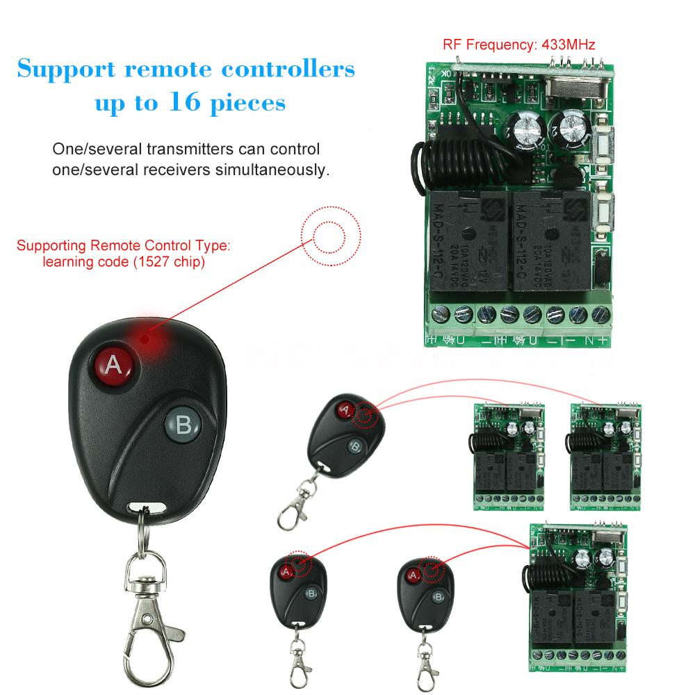 433mhz Dc 12v 2ch Universal 10a Relay Wireless Remote Control Switch Simple For Home Appliances Circuit Diagram Very Convenient To Use Wiring Connection Way Support Up 16 Pieces It Can Connect The Electronic Lock